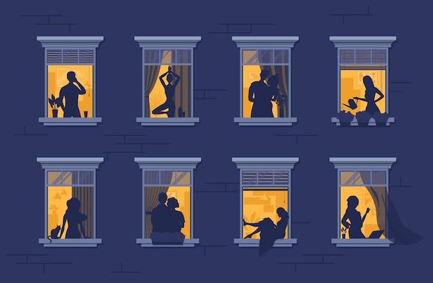 Buren in ramen. stripfiguren. appartementengebouw met mensen in open raamruimtes.