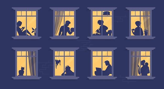 Buren in ramen. stripfiguren in hun appartement lezen boek, koken, tv kijken en samen tijd doorbrengen. vector illustratie avond huis scène, silhouet of schaduw mensen in raam