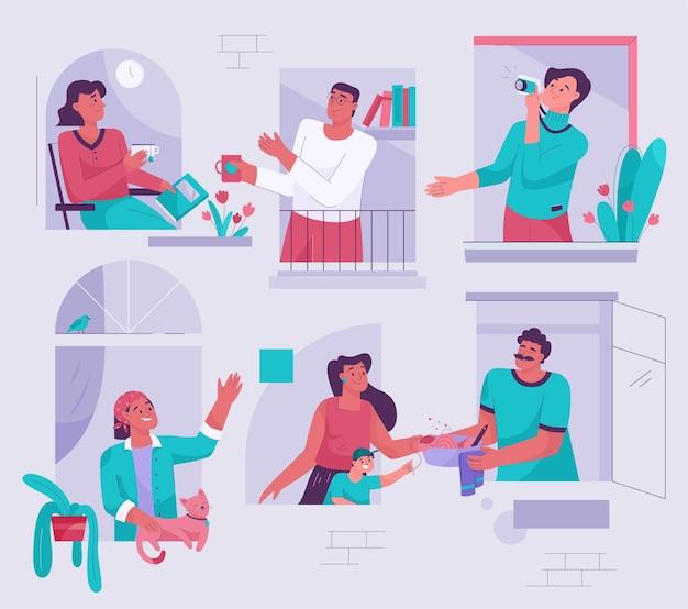 Buren in windows concept mannen en vrouwen kijken vanuit huis uit