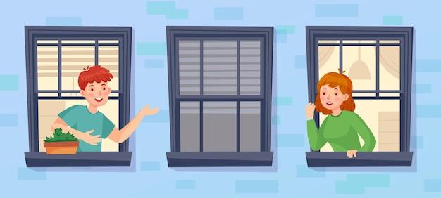 Buren kijken uit het raam en praten met elkaar. buurtcommunicatie, praten in lockdown, quarantainegesprek, illustratie