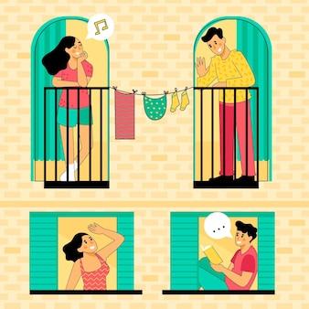 Buren praten over ramen