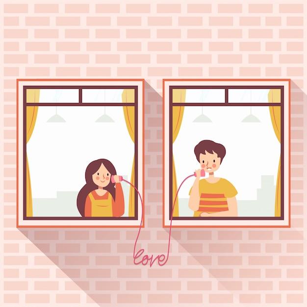 Buren romantisch paar dat liefde belt