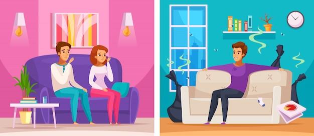 Buren stinkende appartement cartoon samenstelling