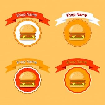 Burger badge fastfood restaurant logo