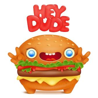 Burger emoji schattig karakter met hey gast-titel.