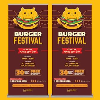 Burger festival roll-up banner afdruksjabloon met platte ontwerpstijl