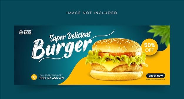 Burger food-menu en restaurant facebook cover bannerontwerp premium vector