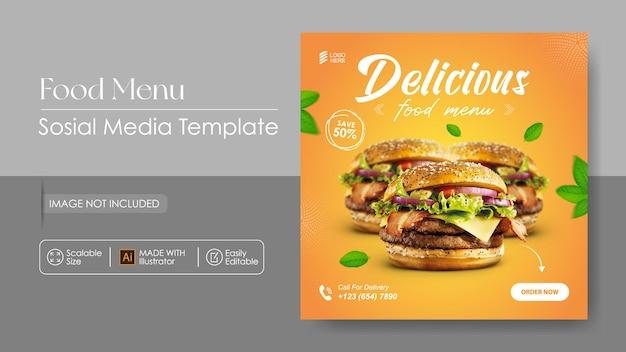 Burger food sosial media promotie en instagram ontwerpsjabloon