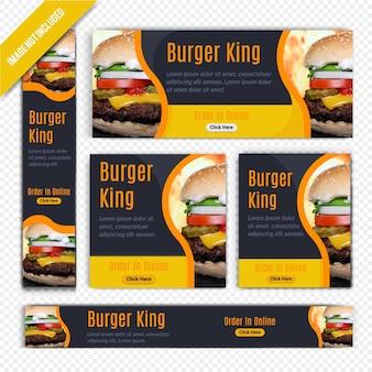 Burger food webbanner ingesteld voor restaurant