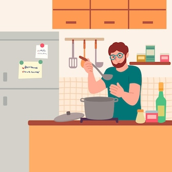 Burger koken illustratie