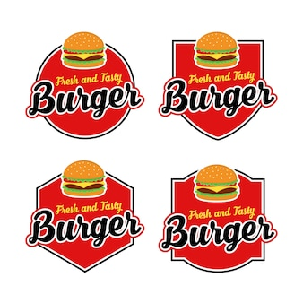 Burger logo vector set met badge design
