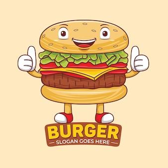 Burger mascot-logo in platte ontwerpstijl