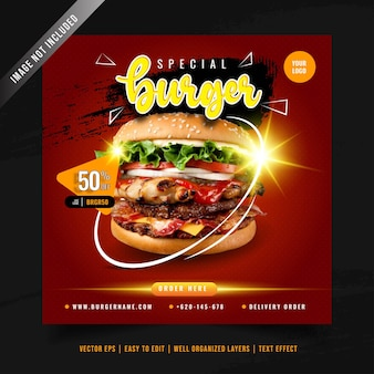 Burger menu promotie sociale media sjabloon voor spandoek Premium Vector