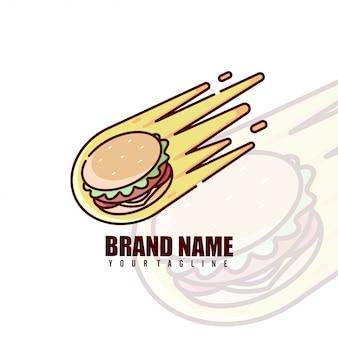 Burger meteor cartoon logo voor culinaire zaken