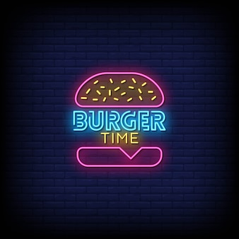Burger time neon signs style-tekst