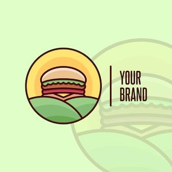 Burger vegan met landbouwbedrijf en zonsopgang cartoon logo