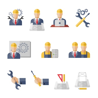 Burgerlijke professionele mechanische science engineering concept platte zakelijke avatars set van productie management werknemer