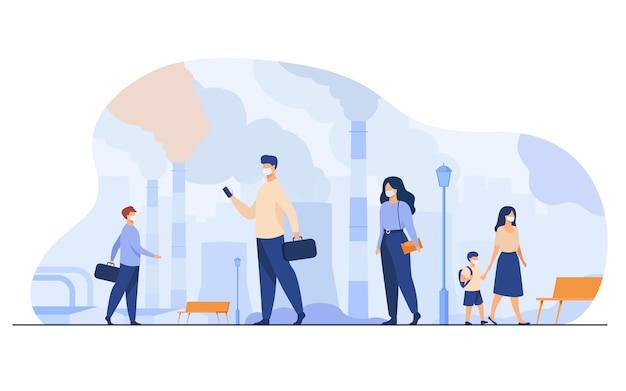 Burgers dragen gezichtsmaskers ter bescherming tegen smog en stoffige lucht. mensen lopen in de buurt van fabrieksleidingen en industriële emissies. voor milieuprobleem, ecologie, coronavirus