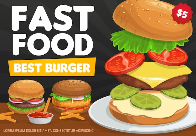 Burgers, fastfood hamburger en cheeseburger