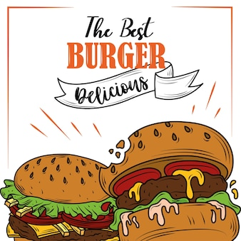 Burgers fastfood klassieke heerlijke verse ingrediënten poster
