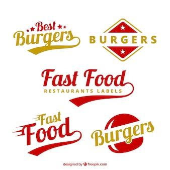 Burgers labels in rode en gele kleuren