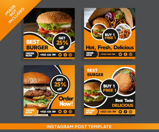Burgers restaurant instagram-bericht