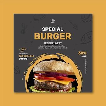 Burgers restaurant kwadraat flyersjabloon