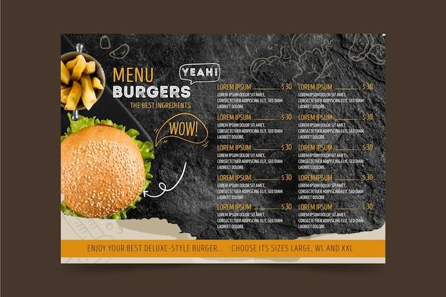 Burgers restaurant menusjabloon