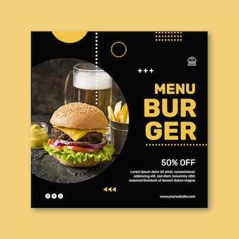 Burgers restaurant vierkante flyer-sjabloon
