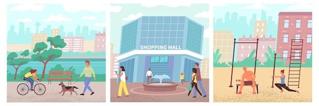 Burgersamenstellingen van mensen die in het park lopen en het winkelcentrum binnengaan voor aankopen of het uitvoeren van fysieke oefeningen buitenshuis