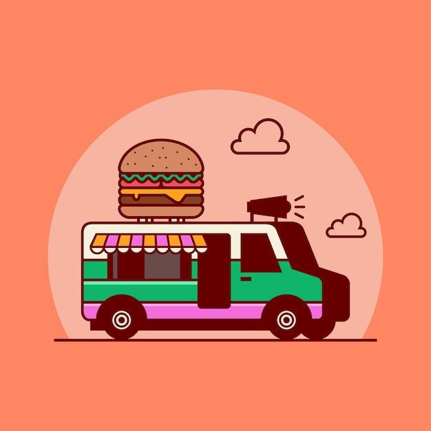Burgervrachtwagen van met burger vectorillustratie mobiele voedselvrachtwagen