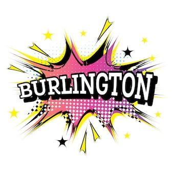 Burlington comic-tekst in pop-artstijl