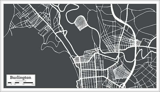 Burlington vermont usa stadsplattegrond in retro stijl. overzicht kaart. vectorillustratie.