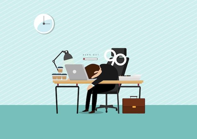 Burn-out syndroom concept illustratie met uitgeputte mannelijke kantoormedewerker zitten aan de tafel.