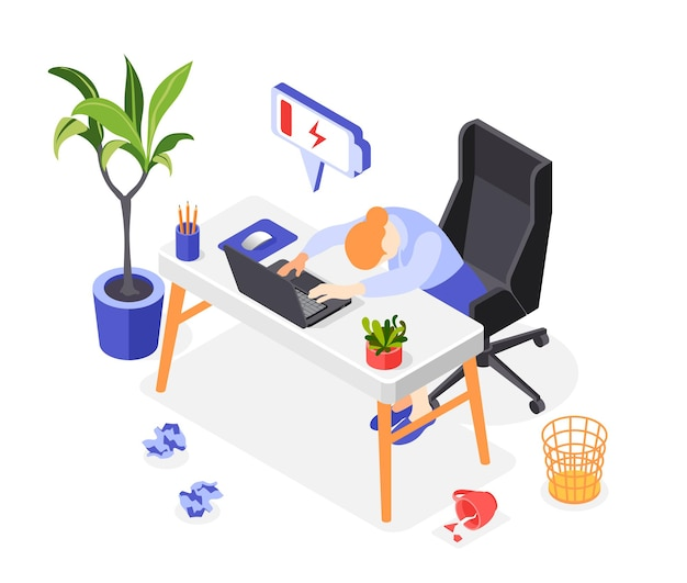 Burn-out syndroom isometrische illustratie
