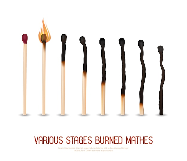 Burned matches set