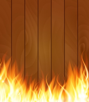 Burning fire special light effect flames on wood boards background