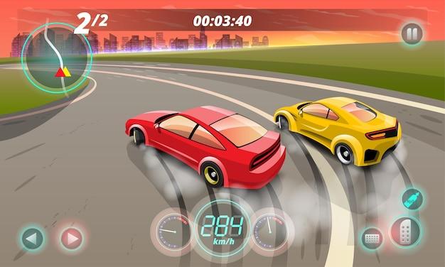 Burnout-auto, game-sportwagen-drift voor punt in het spel, straatracen, raceteam, turbocompressor, tuning