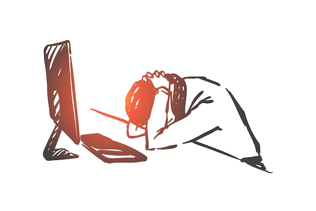 Burnout-syndroom, vermoeidheid, werklast concept illustratie
