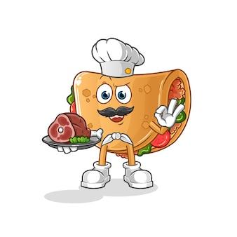 Burrito chef-kok met vleesmascotte. tekenfilm
