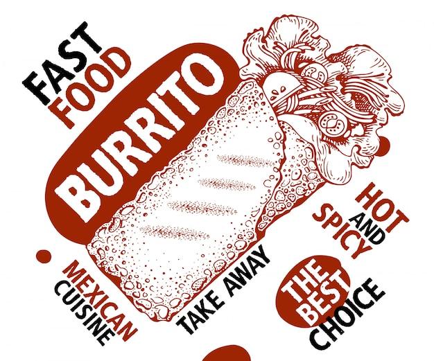 Burrito. mexicaans eten. traditionele mexicaanse keuken.