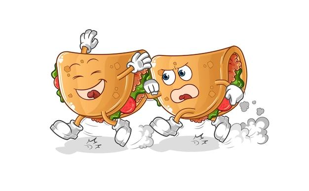 Burrito speelt achtervolging cartoon. cartoon mascotte