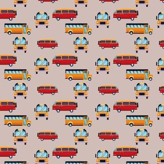 Bus en bestelwagen cartoons patroon achtergrond
