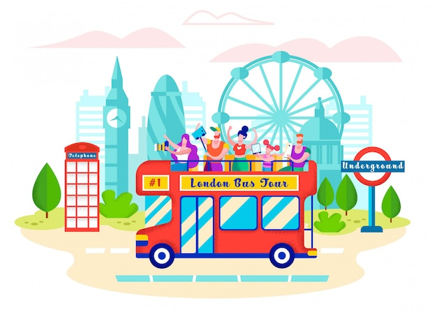 Bus met een inscriptie london bus tour, cartoon.