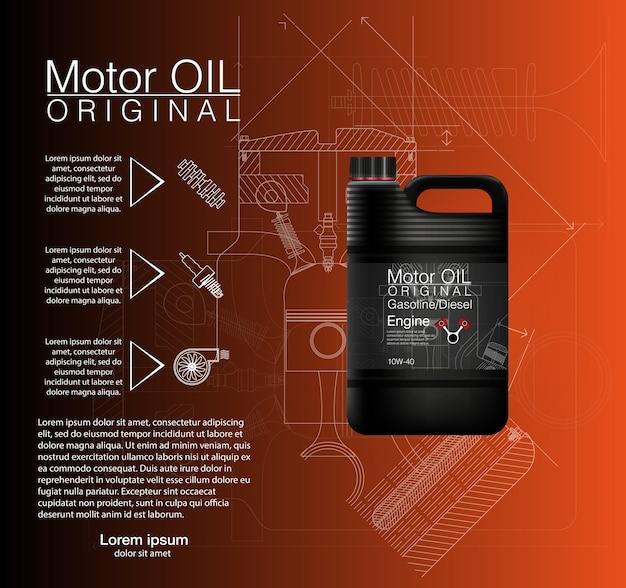 Bus olie fles motor, olie achtergrond, illustratie