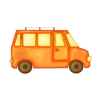 Bus om te reizen in schattige cartoonstijl. vectorillustratie geïsoleerd op een witte achtergrond.