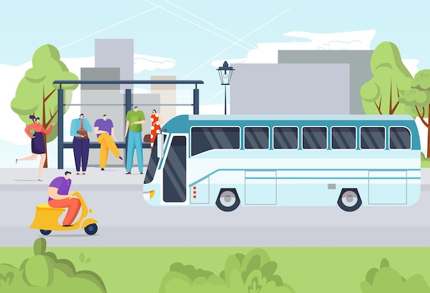 Bus openbaar mensenvervoer, reizen vanaf bushalte straatweg illustratie