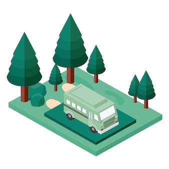 Bus parkeren en bomen scène isometrische pictogram