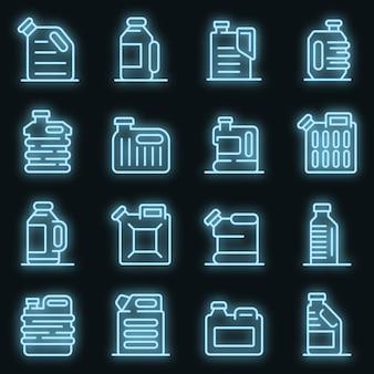 Bus pictogrammen instellen. overzicht set van bus vector iconen neon kleur op zwart