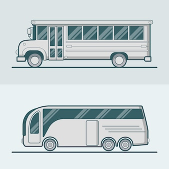 Bus school toeristische intraciteit schoolbus lineart lijntekeningen wegtransport set.